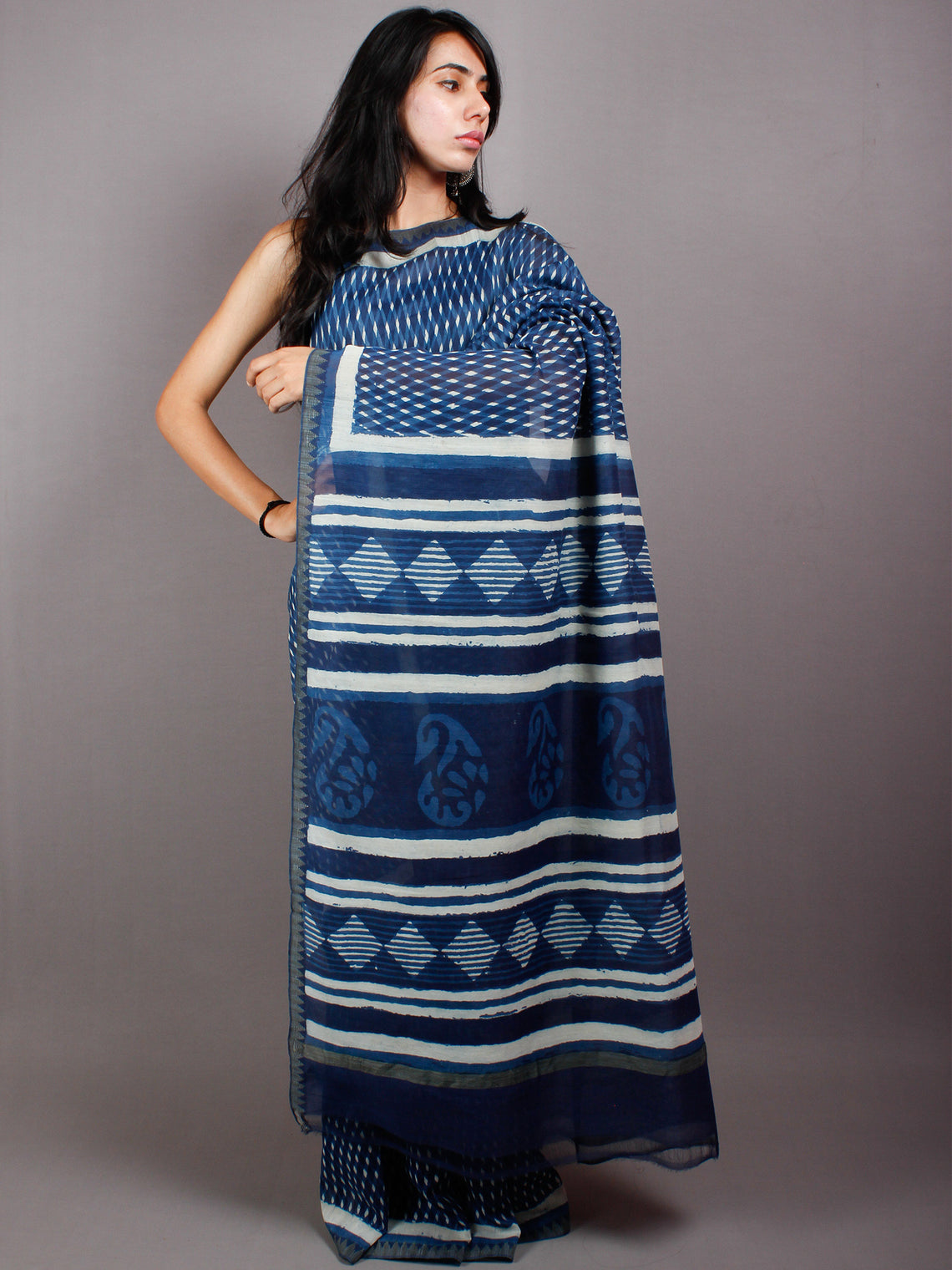 Indigo Ivory White Hand Block Printed in Natural Vegetable Colors Chanderi Saree With Geecha Border - S03170508