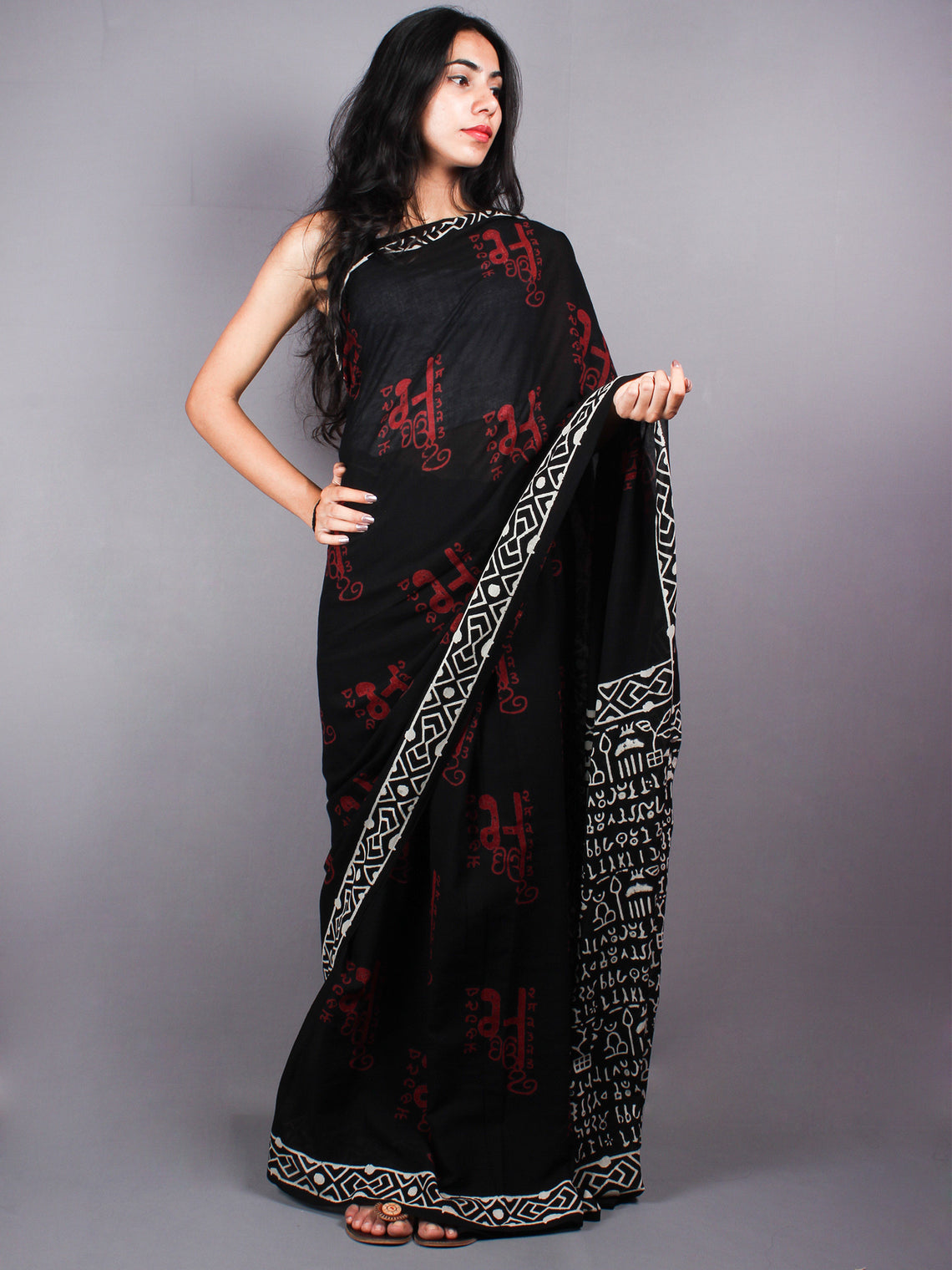 Black Red Cotton Hand Block Printed Saree - S0317051