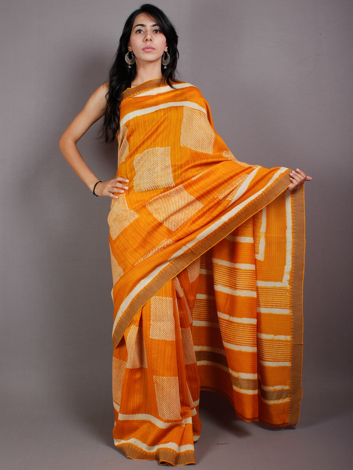 Yellow Beige White Hand Block Printed in Natural Vegetable Colors Chanderi Saree With Geecha Border - S03170513