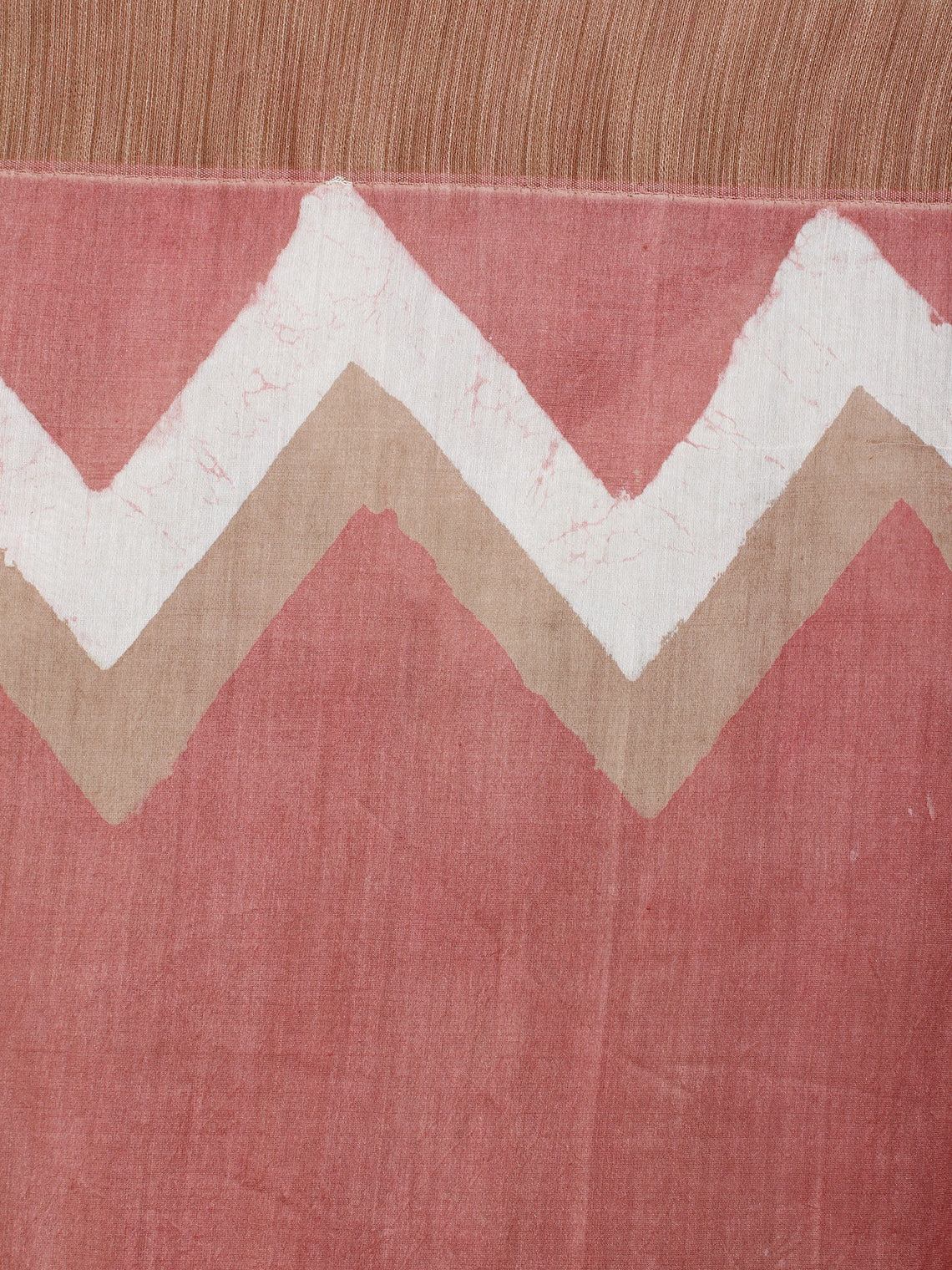 Pastel Peach Beige White Hand Block Printed in Natural Vegetable Colors Chanderi Saree With Geecha Border - S03170515