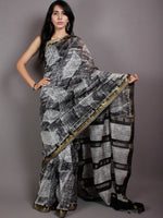 Black White Hand Block Printed in Natural Vegetable Colors Chanderi Saree With Geecha Zari Border - S03170516