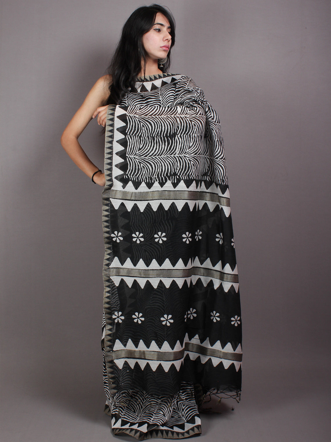 Black Ivory White Hand Block Printed in Natural Vegetable Colors Chanderi Saree With Geecha Border - S03170519