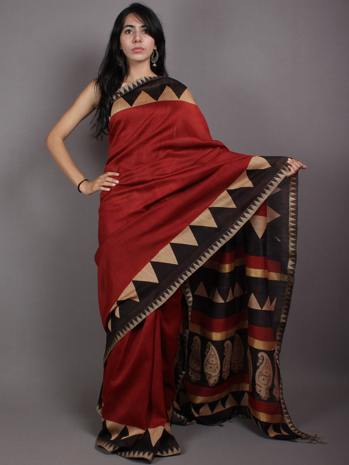 Red Beige Black Hand Block Printed in Natural Vegetable Colors Chanderi Saree With Geecha Border - S03170520