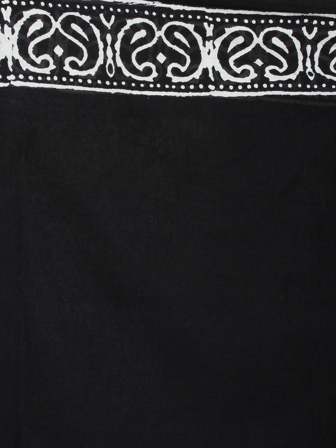 Black White Cotton Hand Block Printed Saree in Natural Colors - S03170522