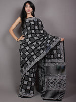 Black Grey White Cotton Hand Block Printed Saree in Natural Colors - S03170524