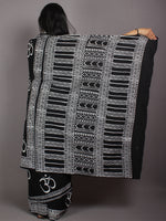Black White Cotton Hand Block Printed Saree in Natural Colors - S03170527