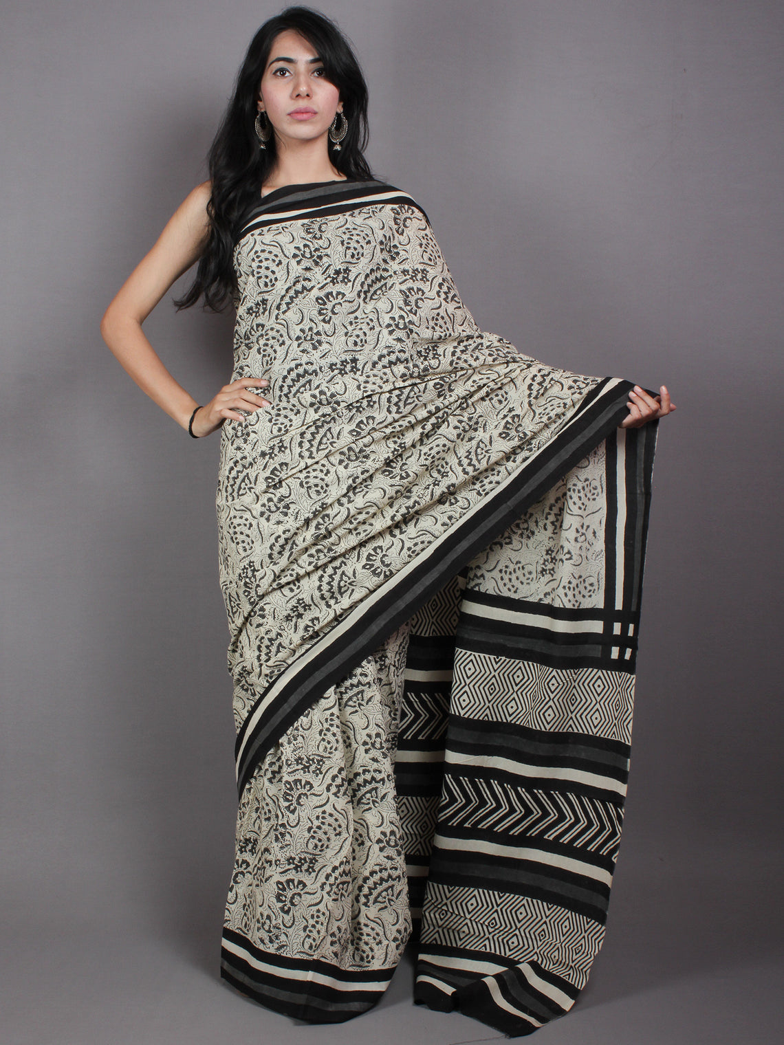 Beige Black Grey Cotton Hand Block Printed Saree in Natural Colors - S03170529