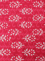 Rose Pink White Hand Block Printed Cotton Cambric Fabric Per Meter - F0916451