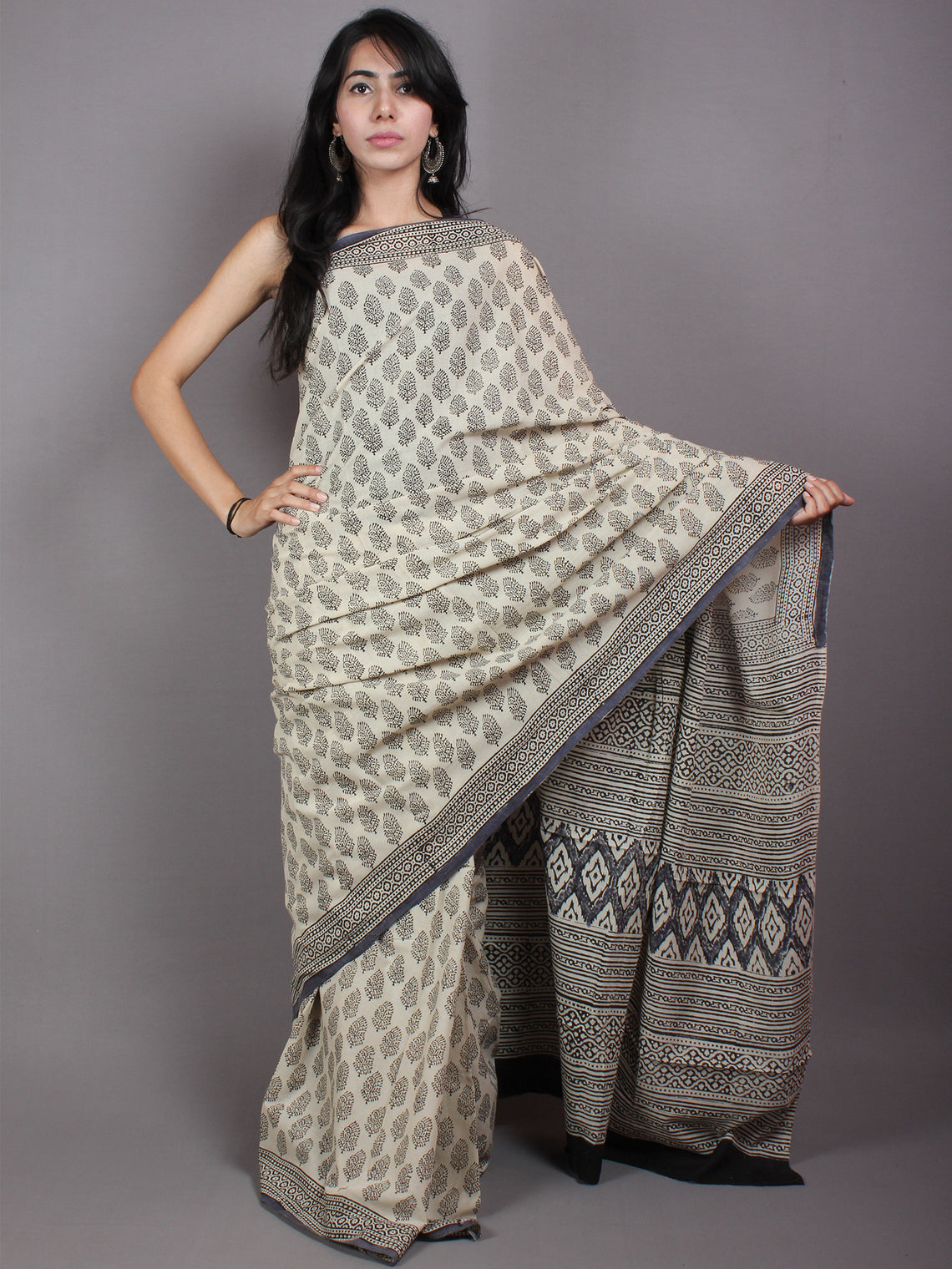 Beige Black Cotton Hand Block Printed Saree in Natural Colors - S03170531