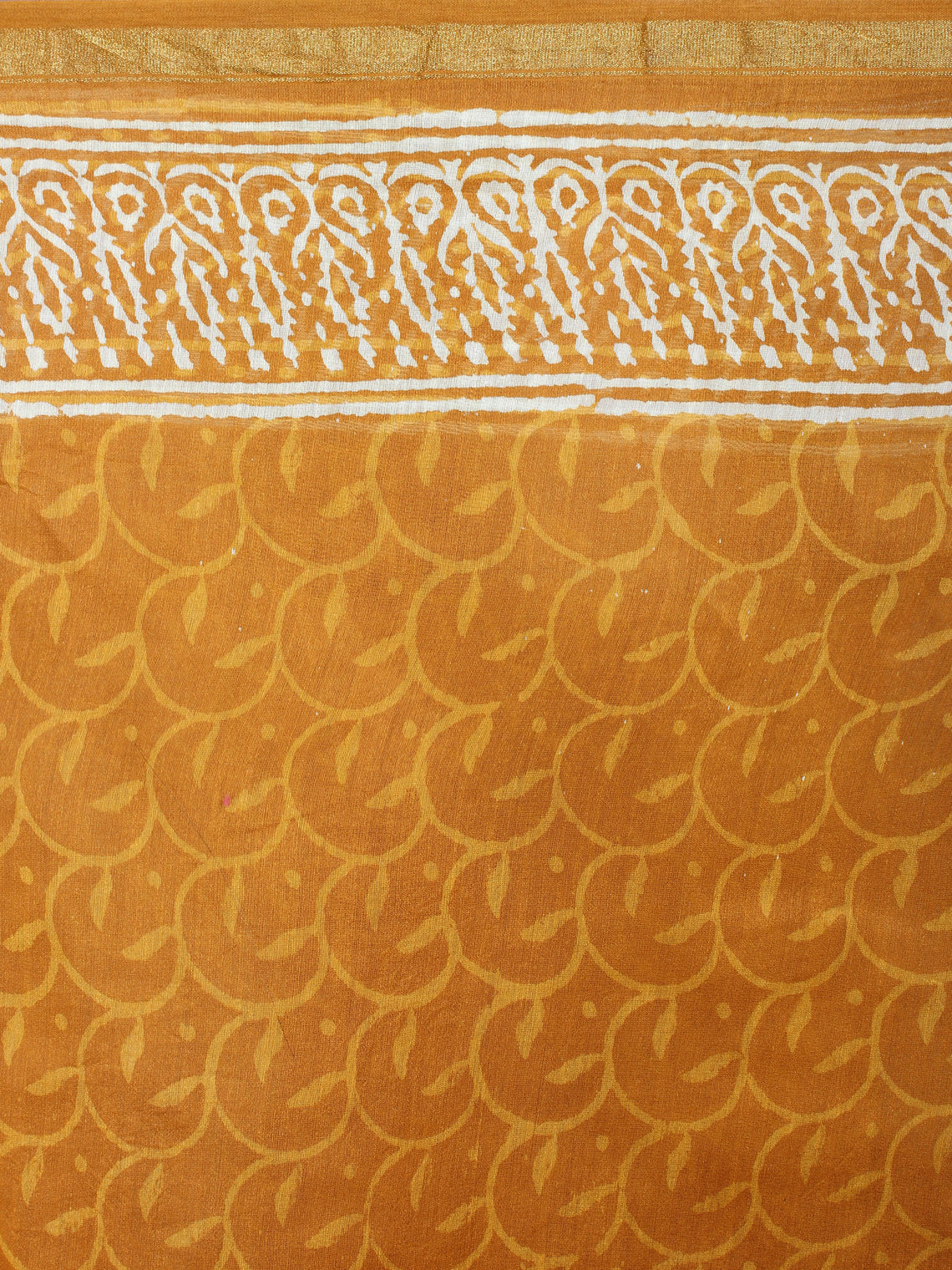 Yellow Beige Hand Block Bagru Printed in Natural Vegetable Colors Chanderi Saree - S03170534