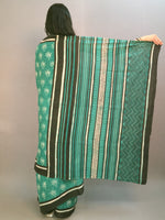 Basil Green Beige Hand Block Printed Cotton Saree in Natural Colors With Black Border- S03170536