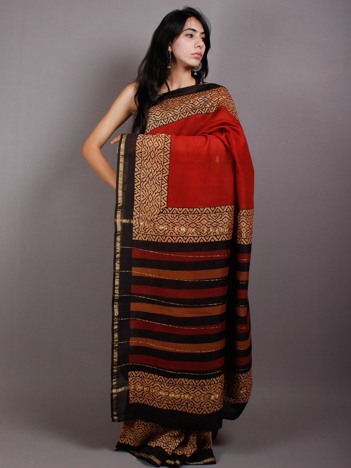 Maroon Black Beige Hand Block Printed & Painted in Natural Vegetable Colors Chanderi Saree - S03170540