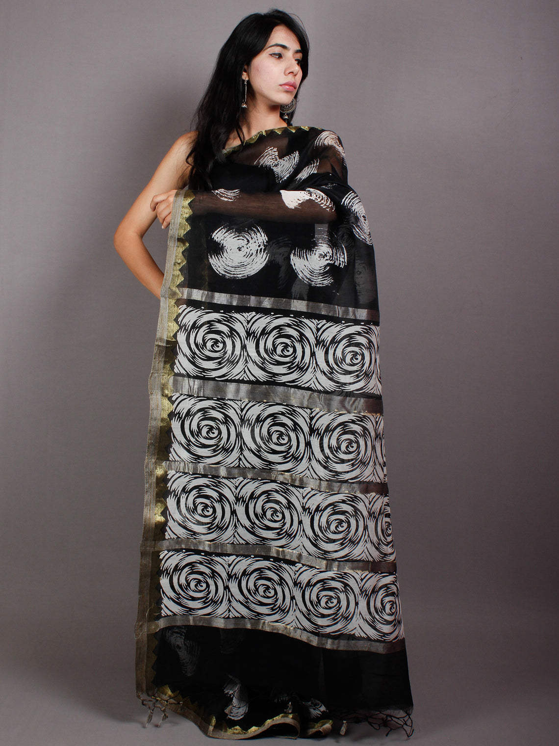 Black Ivory White Hand Block Printed in Natural Vegetable Colors Chanderi Saree With Geecha Border - S03170543