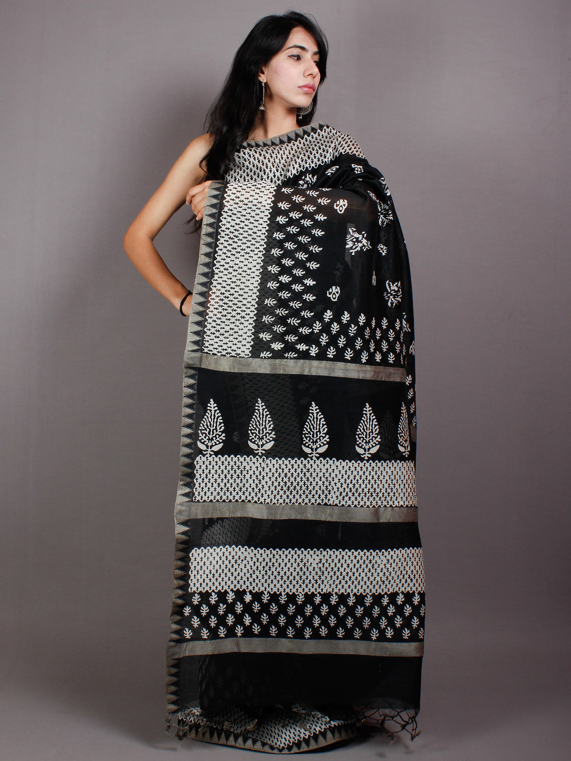 Black White Hand Block Printed in Natural Vegetable Colors Chanderi Saree With Geecha Border - S03170544