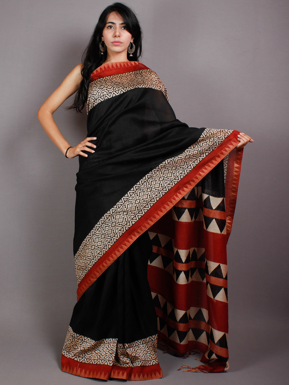 Black Beige Red Block Printed & Painted in Natural Vegetable Colors Chanderi Saree With Geecha Border - S03170546