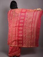 Red Pink Beige Hand Block Bagru Printed in Natural Vegetable Colors Chanderi Saree - S03170549