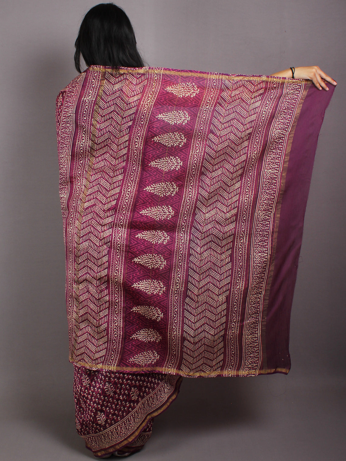 Purple Beige Pink Hand Block Bagru Printed in Natural Vegetable Colors Chanderi Saree - S03170555