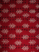 Red Beige Black Hand Block Printed Cotton Cambric Fabric Per Meter - F0916454