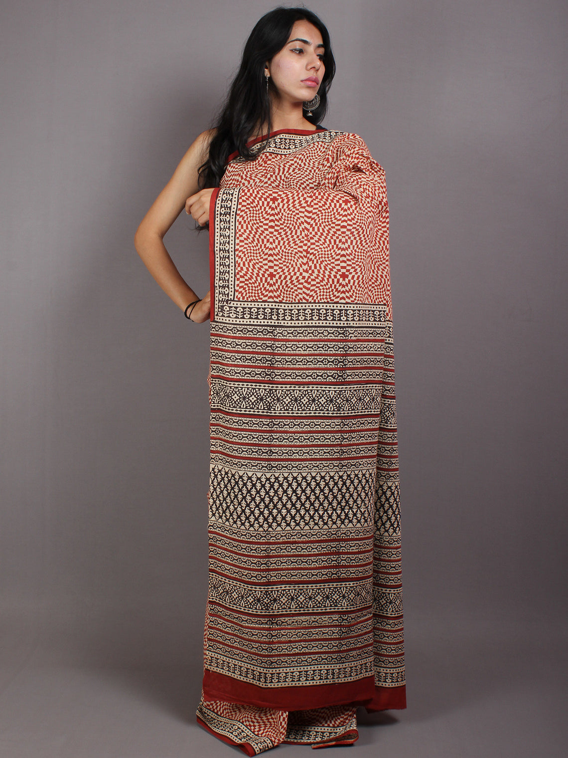 Beige Red Black Cotton Hand Block Printed Saree in Natural Colors - S03170565