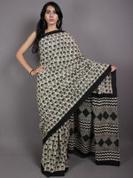 Beige Grey Black Cotton Hand Block Printed Saree in Natural Colors - S03170567