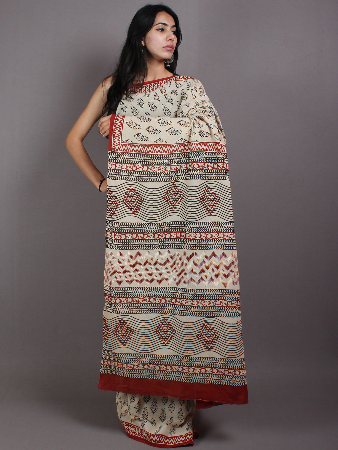 Beige Black Maroon Cotton Hand Block Printed Saree in Natural Colors - S03170568