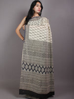 Beige Black Grey Hand Block Printed Cotton Saree in Natural Colors - S03170571