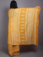 Mustard Yellow Beige Hand Block Printed Cotton Saree in Natural Colors - S03170573