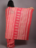 Pink Beige Hand Block Printed Cotton Saree in Natural Colors - S03170576