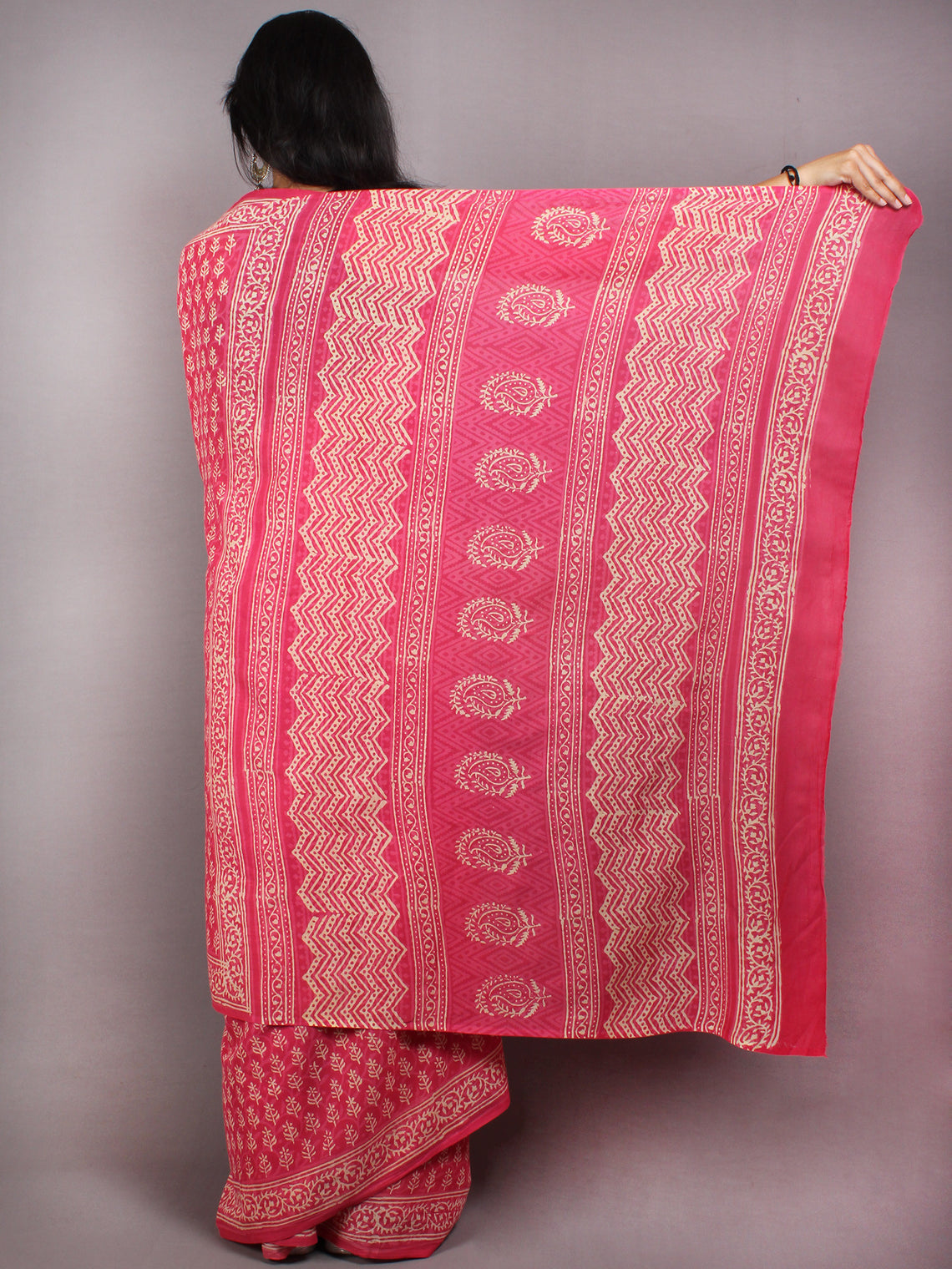Pink Beige Hand Block Printed Cotton Saree in Natural Colors - S03170577