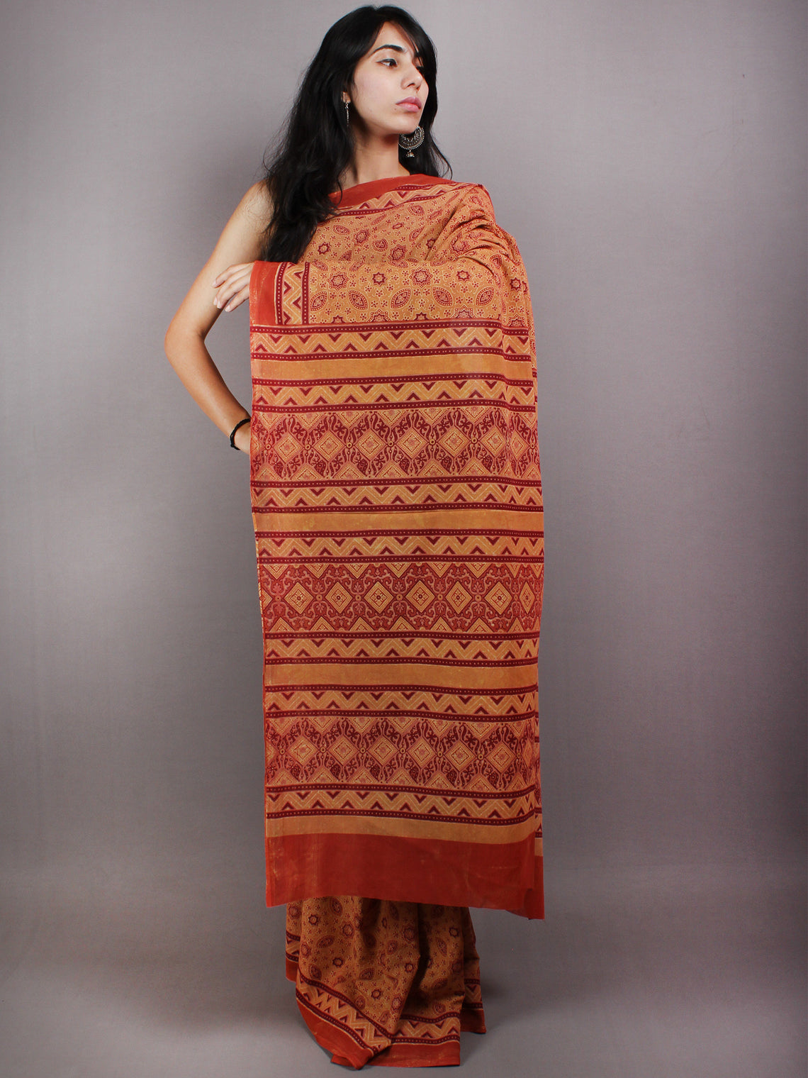 Scarlet Red Mustard Mughal Nakashi Ajrakh Hand Block Printed in Natural Vegetable Colors Cotton Mul Saree - S03170581