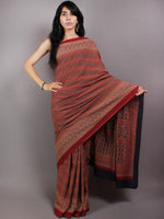 Maroon Beige Black Mughal Nakashi Ajrakh Hand Block Printed in Natural Vegetable Colors Cotton Mul Saree - S03170582