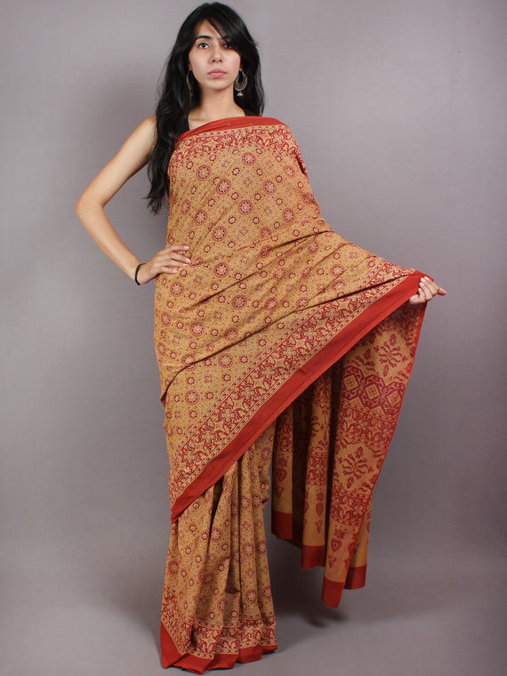 Crimson Red Apricot Mughal Nakashi Ajrakh Hand Block Printed in Natural Vegetable Colors Cotton Mul Saree - S03170583