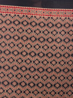 Red Beige Black Mughal Nakashi Ajrakh Hand Block Printed in Natural Vegetable Colors Cotton Mul Saree - S03170585