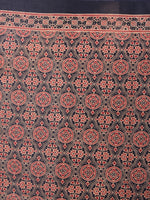 Crimson Red Beige Black Mughal Nakashi Ajrakh Hand Block Printed in Natural Vegetable Colors Cotton Mul Saree - S03170587