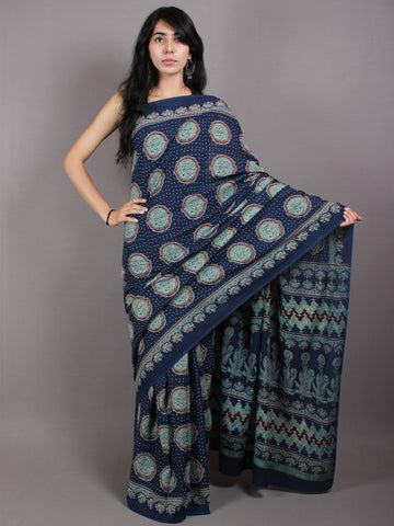 Indigo Fern Green Cherry Mughal Nakashi Ajrakh Hand Block Printed in Natural Vegetable Colors Cotton Mul Saree - S03170590