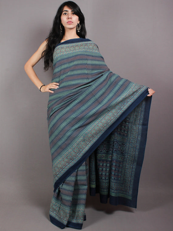 Indigo Maroon Fern Green  Mughal Nakashi Ajrakh Hand Block Printed in Natural Vegetable Colors Cotton Mul Saree - S03170591