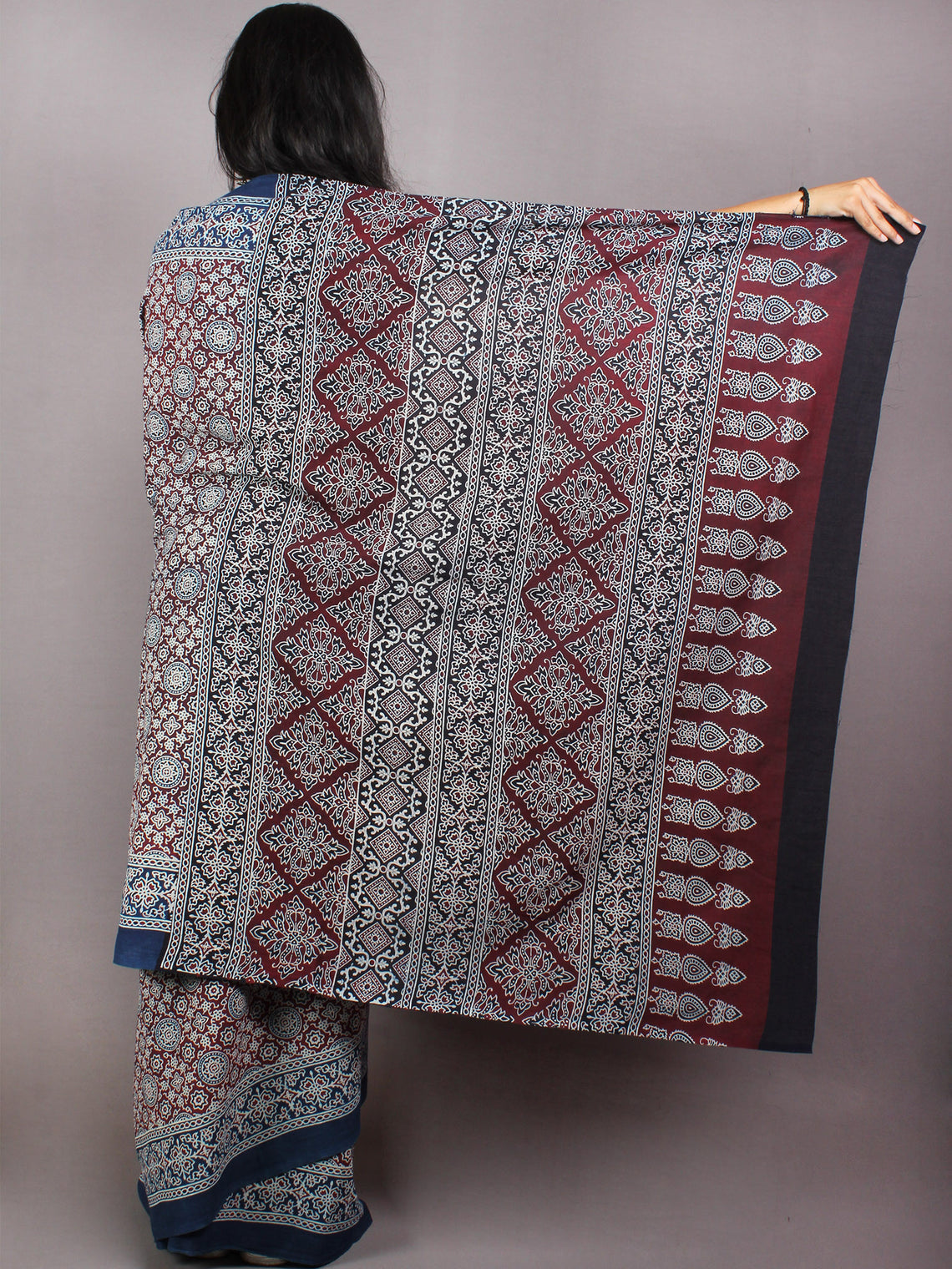 Indigo Maroon Black Beige Mughal Nakashi Ajrakh Hand Block Printed in Natural Vegetable Colors Cotton Mul Saree With Black Blouse - S03170592