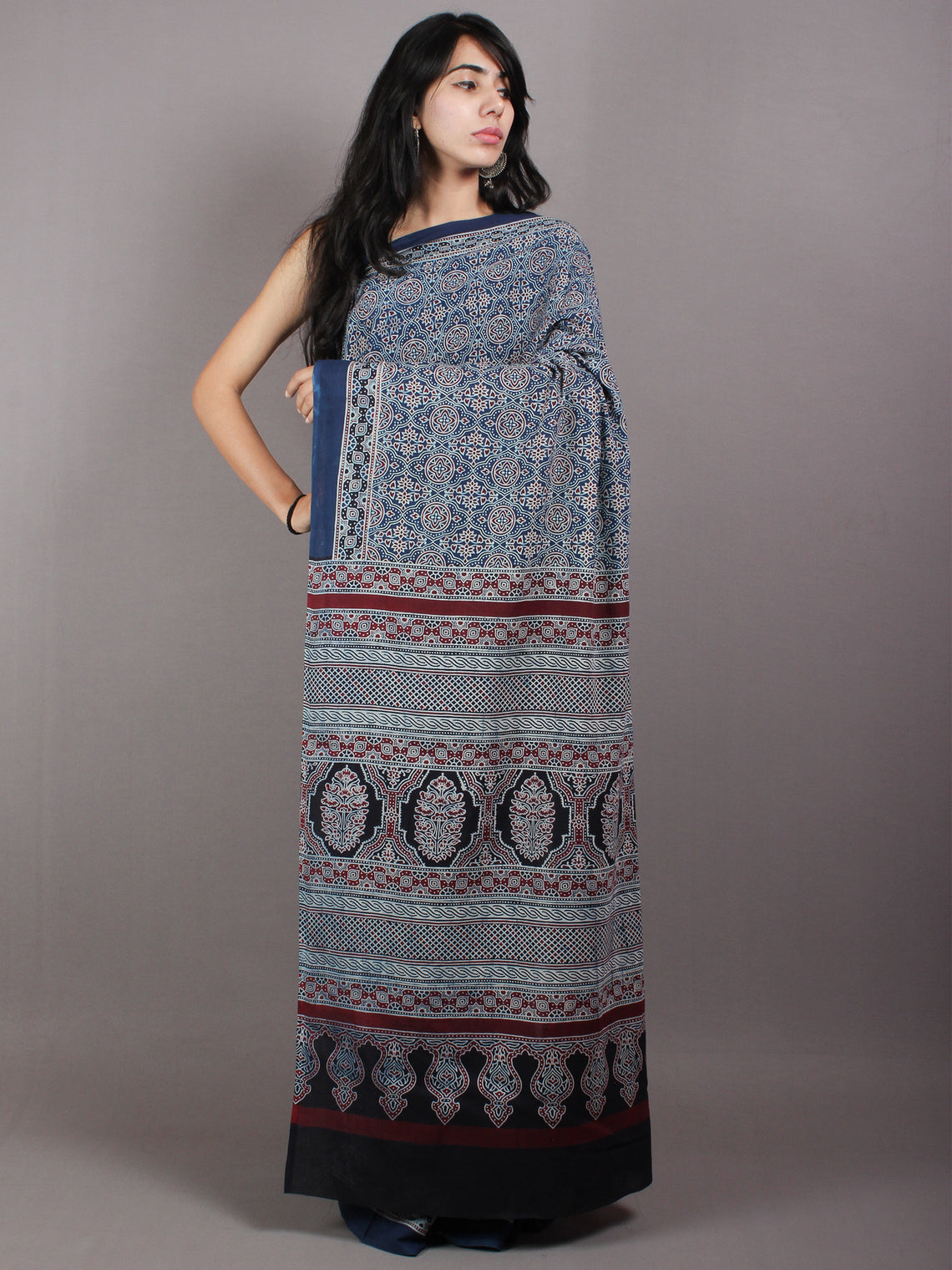 Indigo Beige Cherry Mughal Nakashi Ajrakh Hand Block Printed in Natural Vegetable Colors Cotton Mul Saree - S03170594