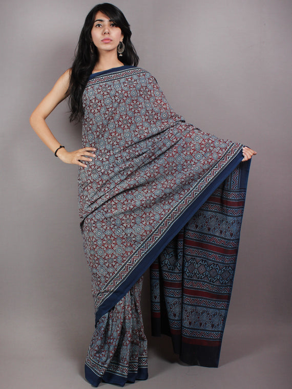 Indigo Red Pear Green Mughal Nakashi Ajrakh Hand Block Printed in Natural Vegetable Colors Cotton Mul Saree - S03170599