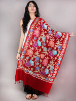 Maroon Aari Embroidery Pure Wool Stole from Kashmir - S6317078