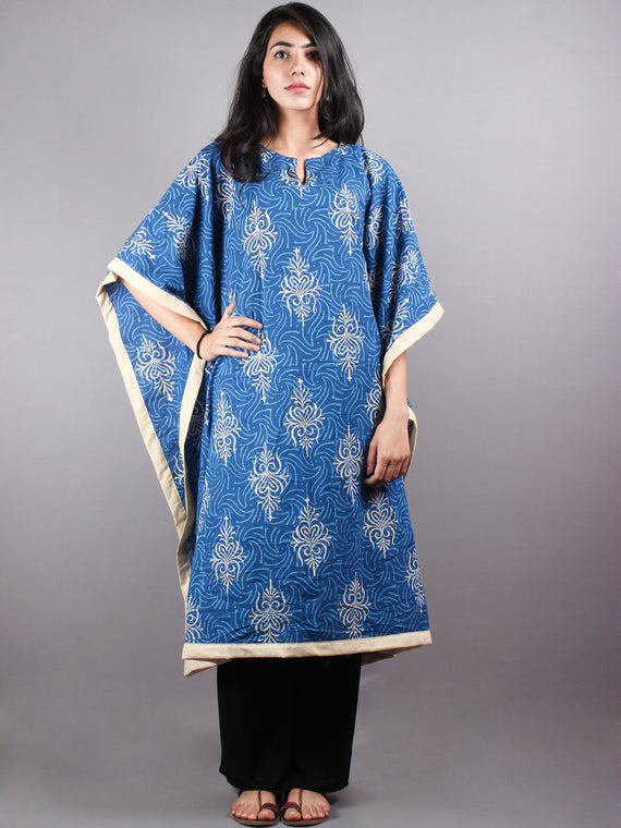 Indigo Hand Block Printed Kaftan With Beige Border - K1162F06