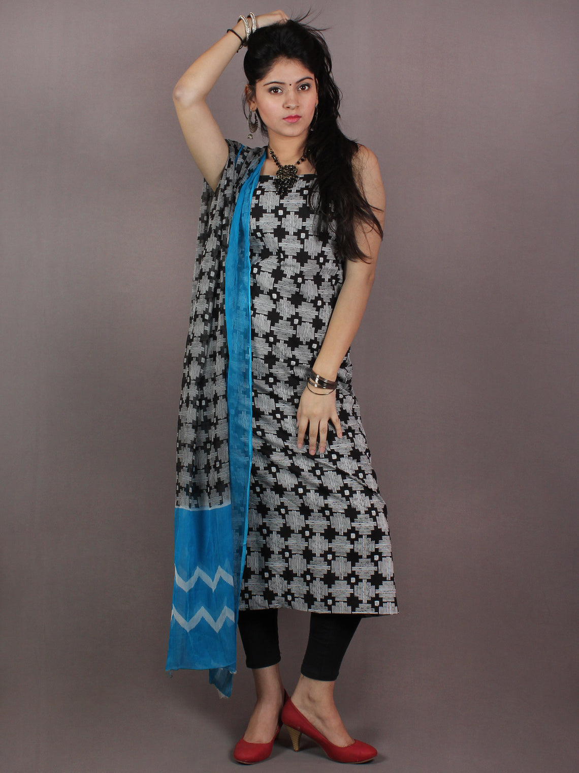 Black White Hand Block Printed Cotton Suit-Salwar Fabric With Chiffon Dupatta - S1628099