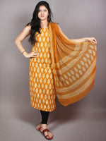 GoldenRod Yellow White Hand Block Printed Cotton Suit-Salwar Fabric With Chiffon Dupatta - S1628046