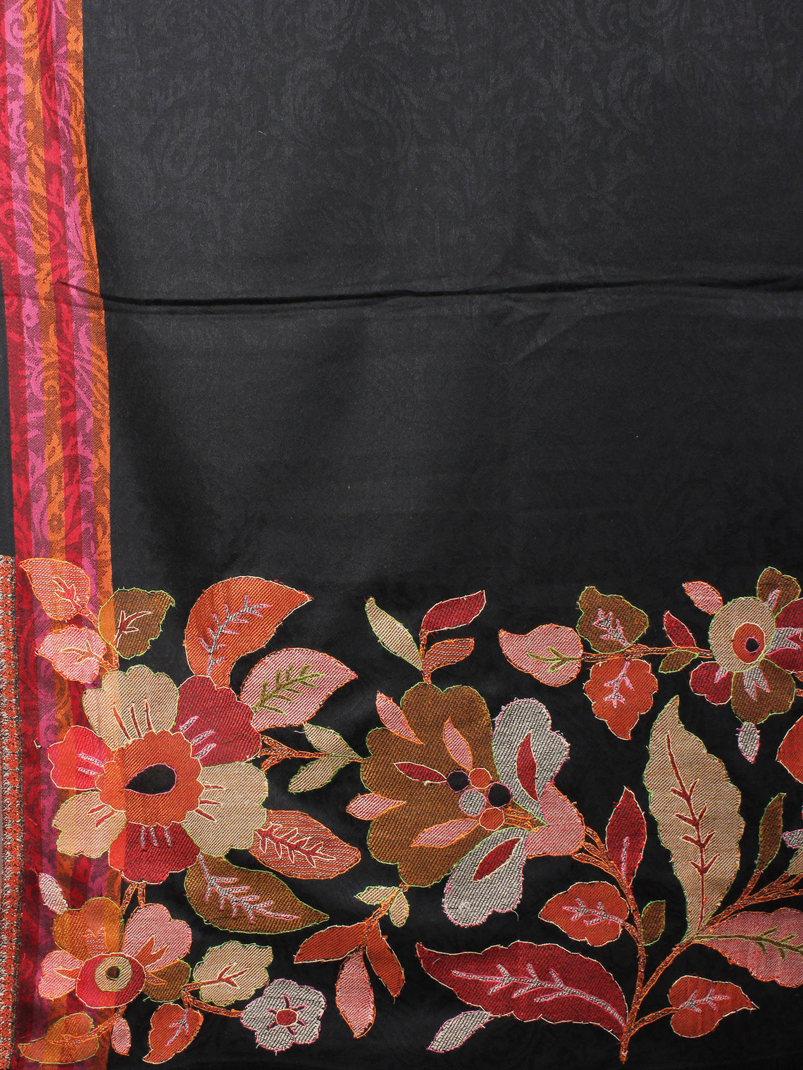 Black Brown Maroon Cashmere Shawl in Paisley-Self With Sozni Border From Kashmir - S200201