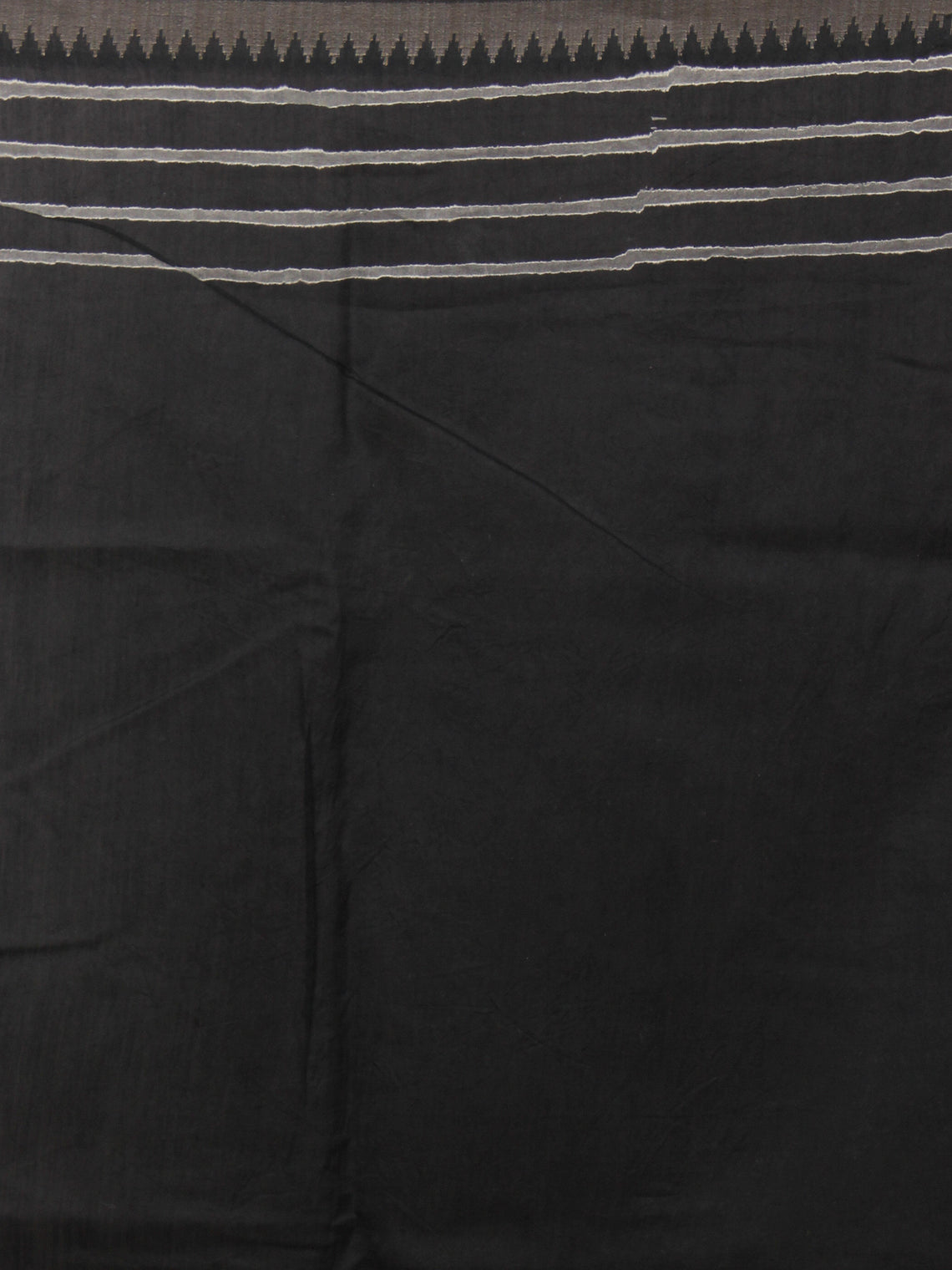Black White Leharia Hand Block Printed in Natural Vegetable Colors Chanderi Saree With Geecha Border - S03170325