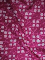Deep Pink White Hand Block Printed Cotton Cambric Fabric Per Meter - F0916439