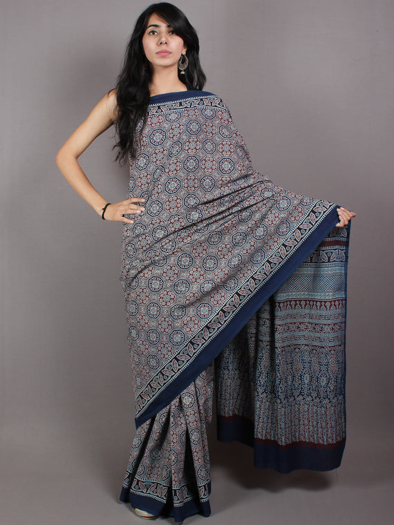 Indigo Maroon Mughal Nakashi Ajrakh Hand Block Printed in Natural Vegetable Colors Cotton Mul Saree - S03170601