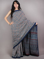 Indigo Ivory Red Mughal Nakashi Ajrakh Hand Block Printed in Natural Vegetable Colors Cotton Mul Saree - S03170602