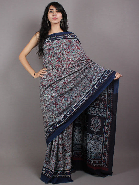 Maroon Ivory Indigo Mughal Nakashi Ajrakh Hand Block Printed in Natural Vegetable Colors Cotton Mul Saree - S03170603