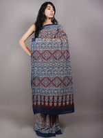 Maroon Ivory Indigo Mughal Nakashi Ajrakh Hand Block Printed in Natural Vegetable Colors Cotton Mul Saree - S03170604